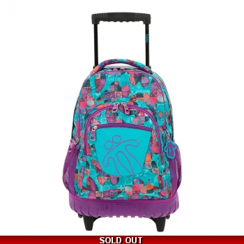 Totto Backpack on Wheels -Purple Butterflies wit..