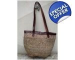 Checked Sisal Shoulder Bag