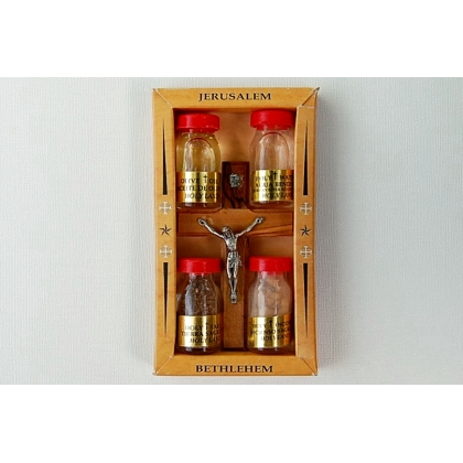 Olive Wood Crucifix with Four Bottles from Holy Land