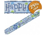 1st Birthday Party Boys Foil Banner - 12ft