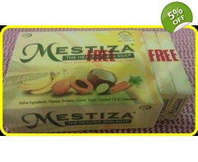 MESTIZA SKIN WHITENING /HERBAL SOAP with FREE 2 HOTEL SIZE OF MESTIZA SOAP