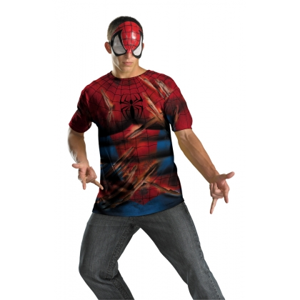 Spiderman Battle Scarred Shirt & Mask