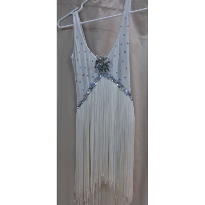 Adult Chicago Style White Flapper Dress Small/Medium