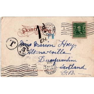 USA 1904 Surcharged Postcard to Scotla..