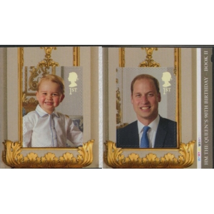 3835-6 Queen's 90th Birthday Princes William & George 1st class pair ex 2nd booklet 2016