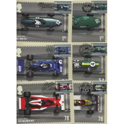 2744 British Grand Prix 2007 set of 6 PHQ stamp cards, special postmarks