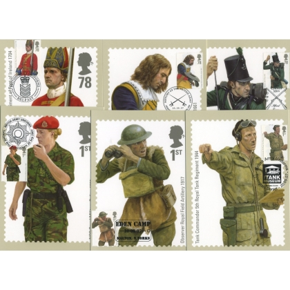 2774 British Army Uniforms set of 6 PHQ Stamp cards, special postmarks