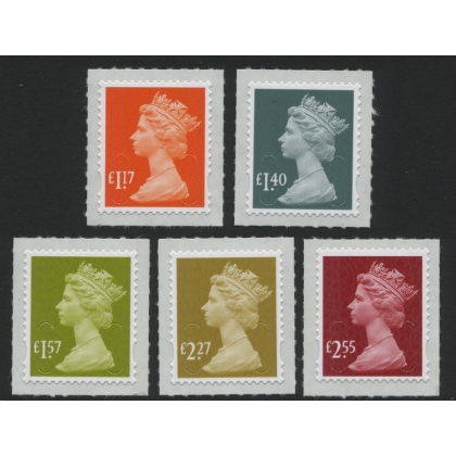 3117 New Tariff Machin Definitives 2017: £1.17, £1.40, £1.57, £2.27 & £2.55