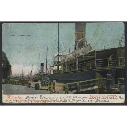 Rotterdam Quayside undivided back colour postcard 1907