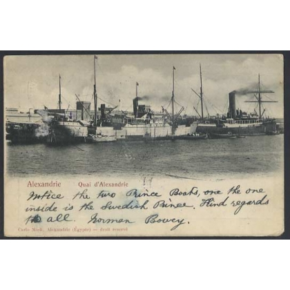 Egypt 1902 Port of Alexandria, ss Swedish Prince - undivided back postcard