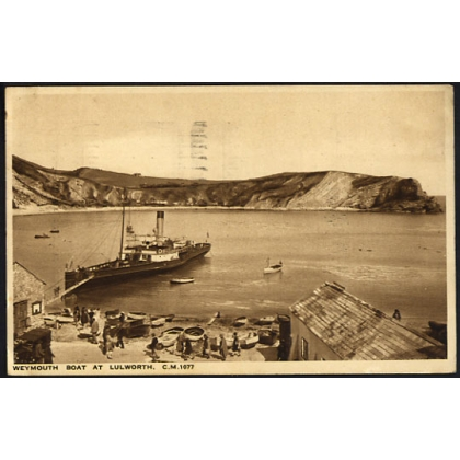 Weymouth Paddle Steamer at Lulworth Cove postcard