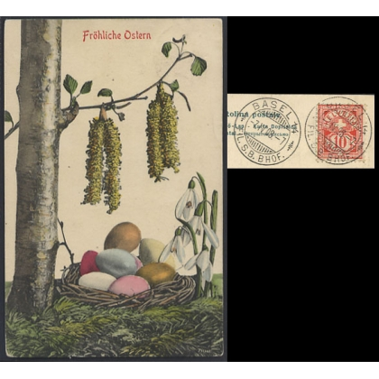 Fröliche Ostern Easter Greetings Swiss postcard with 1908 station postmark, to USA