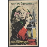 Christmas Greetings coloured postcard