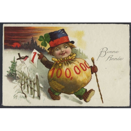 New Year greetings postcard - Jolly Moneybag - Switzerland
