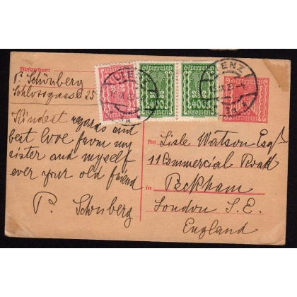 Austria: 1923 200h card uprated sent Lenz to London
