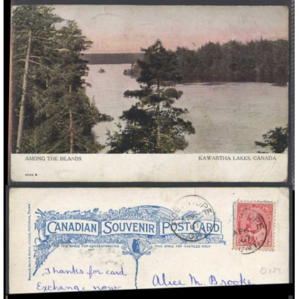 Kawartha Lakes, Ont, Canada colour postcard 1907