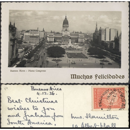 Buenos Aires Plaza Congreso - street cleaning photographic postcard 1936