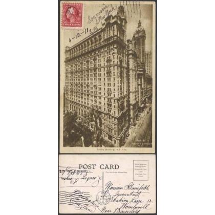 USA number in circle postmark New York 1911