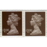 4100P.4a £1 brown MPIL M14L from Great..