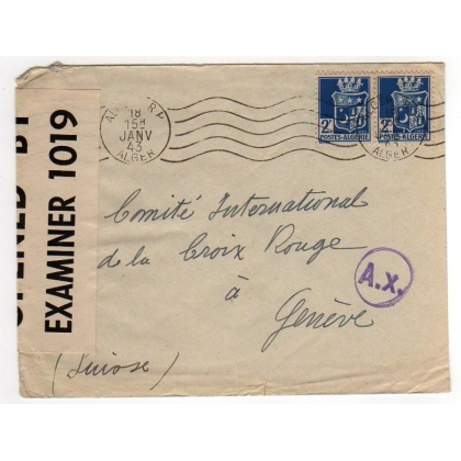 Algeria Censored to Geneva Red Cross 1943