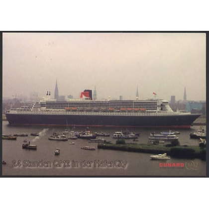 Queen Mary 2 visit to Hamburg 2004 postcard