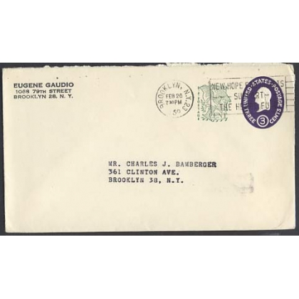 USA 3c uprated stationery envelope 1958 Brooklyn