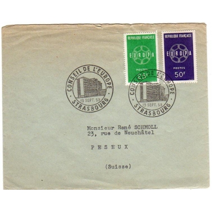 France 1959 Europa pair Strasbourg first day postmark