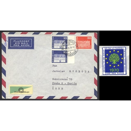 Switzerland airmail to Czechoslovakia + poster stamp 1970
