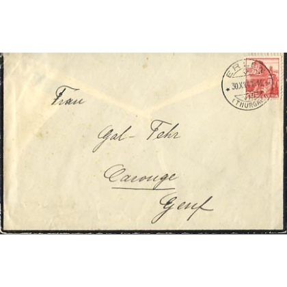 Switzerland 1940 mourning envelope internal
