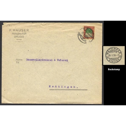 Switzerland cover Station postmark with Pro Juventute stamp 1920