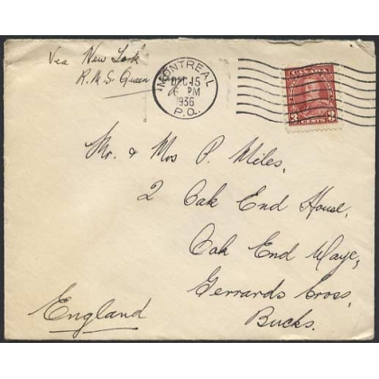 Canada 1936 letter per RMS Queen Mary to England