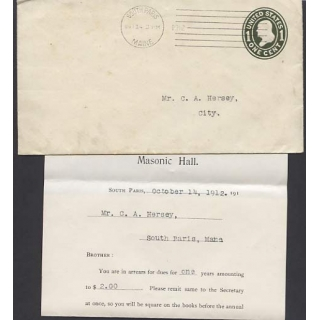 USA 1c pre-stamped envelope SOUTH PARI..