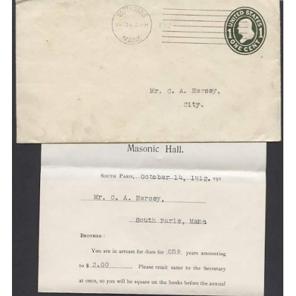 USA 1c pre-stamped envelope SOUTH PARIS - Masonic 1912