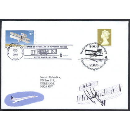 Centenary of Powered Flight GB-US commemorative cover