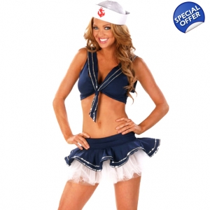 Sexy Shipwrecked Crop Sailor Fancy Dress Costume