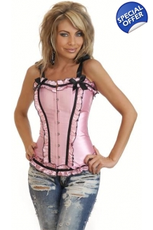 Deluxe Pink Corset with Sati..
