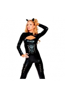 Black Cat Woman Catsuit Kitty Costume