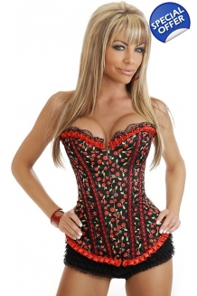 Black and Red Cherry Corset