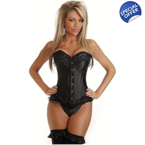 Black Corset with frill detail