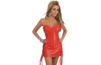 Faux Red Leather Corset..