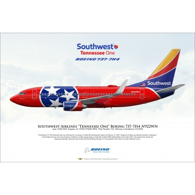 "Southwest Airlines ""Tennessee One"" Boeing 737-7H4 N922WN"
