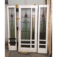 Art Deco Glazed External Door c/w Side Panels