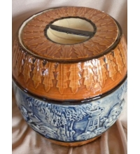 Vintage Blue & Brown Relief Majolica Biscuit Barrel