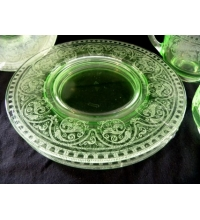 URANIUM GREEN Vaseline Glass - 8 pieces - Cream & Sugar set w/4 saucers & 2 lunch plates -  Etched Floral Pattern