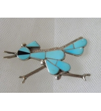 "Silvertone Turquoise & Qnyx Inlay Road Runner Brooch Signed ""EDAAKIE """