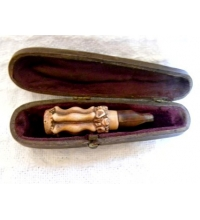 Victorian Hand Carved Cigar Holder & Case