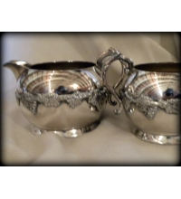 Majestic Old English Reproductions Silver Plate Cream & Sugar S.P.B.M.