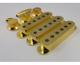 GOLD Pick Up Covers 52mm, Knobs & Tips for Stratocaster guitar
