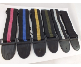 Electric, Bass or Acoustic GUITAR STRAP Coloured Stripe in 6 Colours