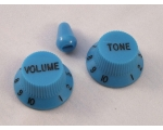 Blue Volume & Tone KNOBS for Ibanez guitar + opt..